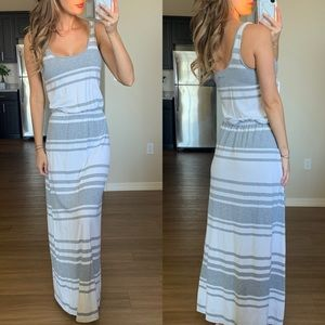 Calvin Klein Gray & White Striped Maxi Dress